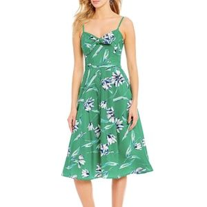Eliza J Green Floral Tie Front Midi Dress 10